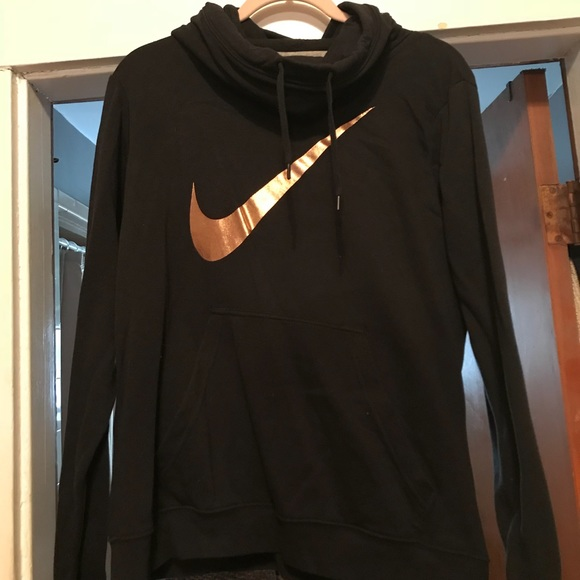 Nike Sweaters Cowl Neck Womens Hoodie With Rose Gold Logo Poshmark